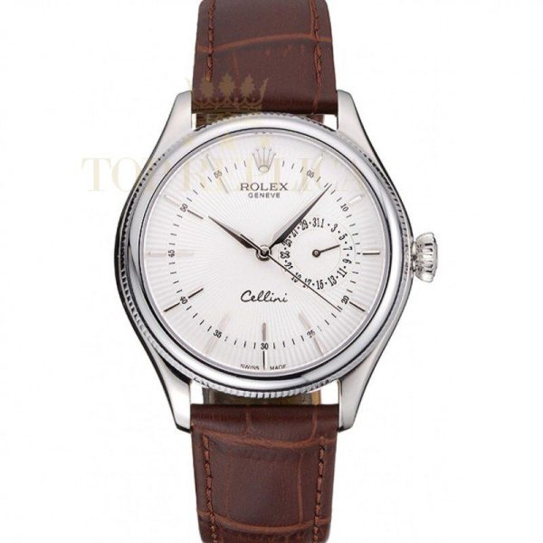 Rolex Cellini White Dial Stainless Steel Case Brown Leather Bracelet 622723 RolexCellini